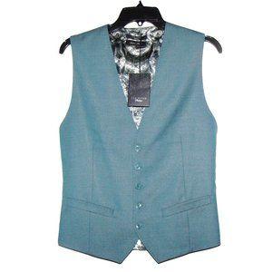 Ted Baker Teal Wool & Silk Blend Vest Size 38